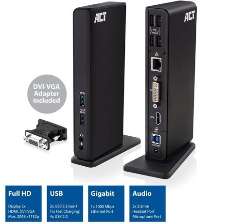 ACT ACT USB 3.2 Dual display universal docking station