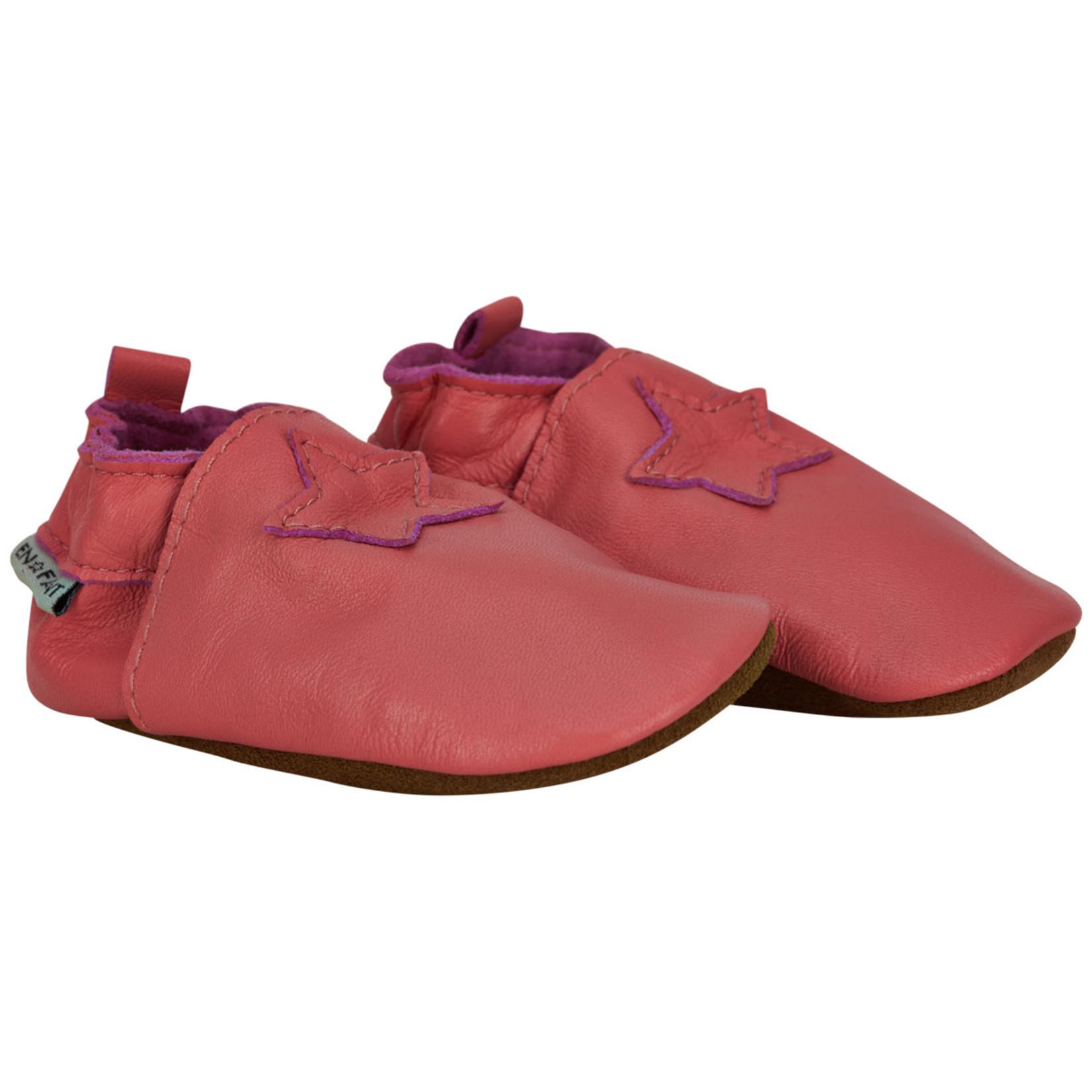 En Fant Lederen Stapschoentjes Dark Pink