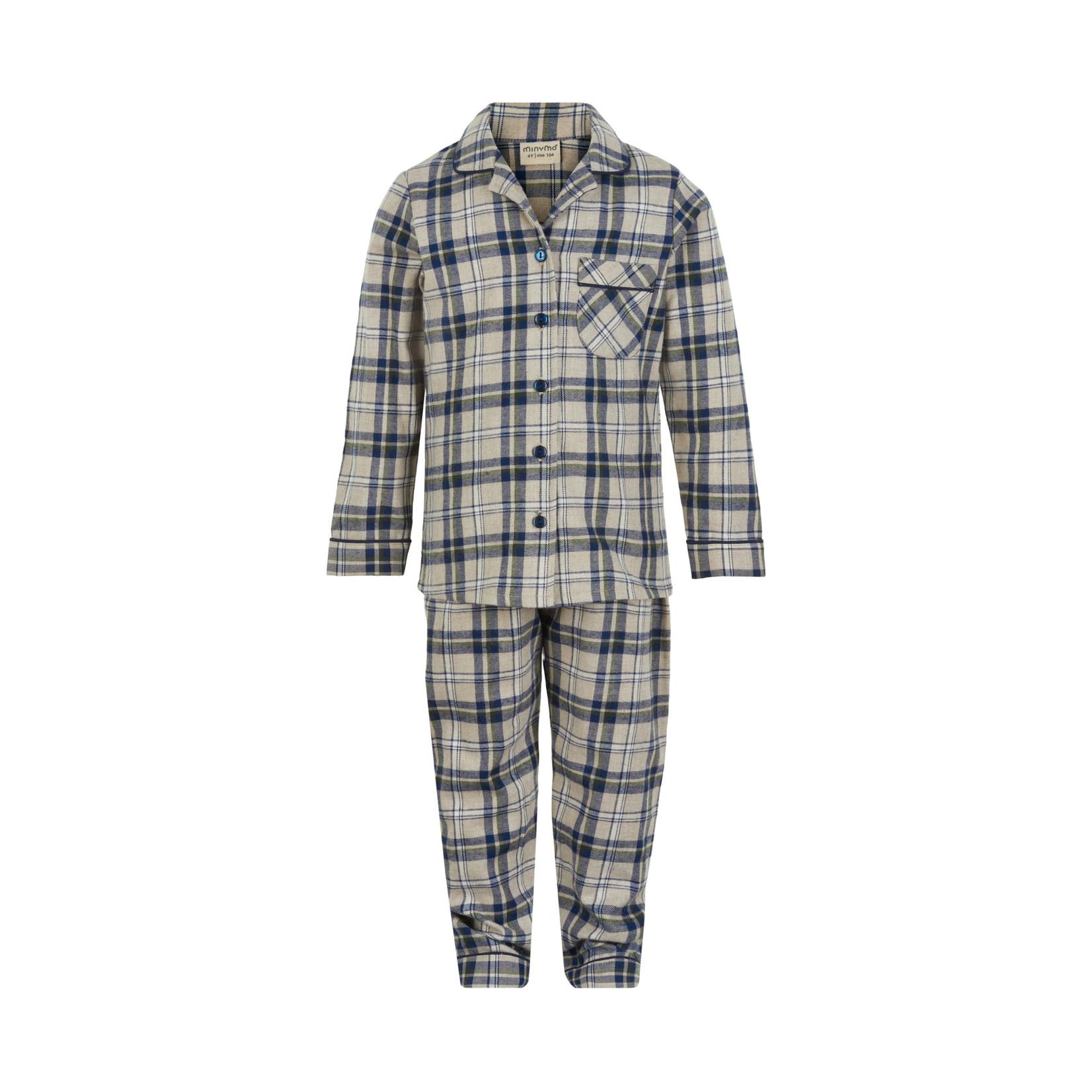 Minymo Geruite Pyjama Blauw