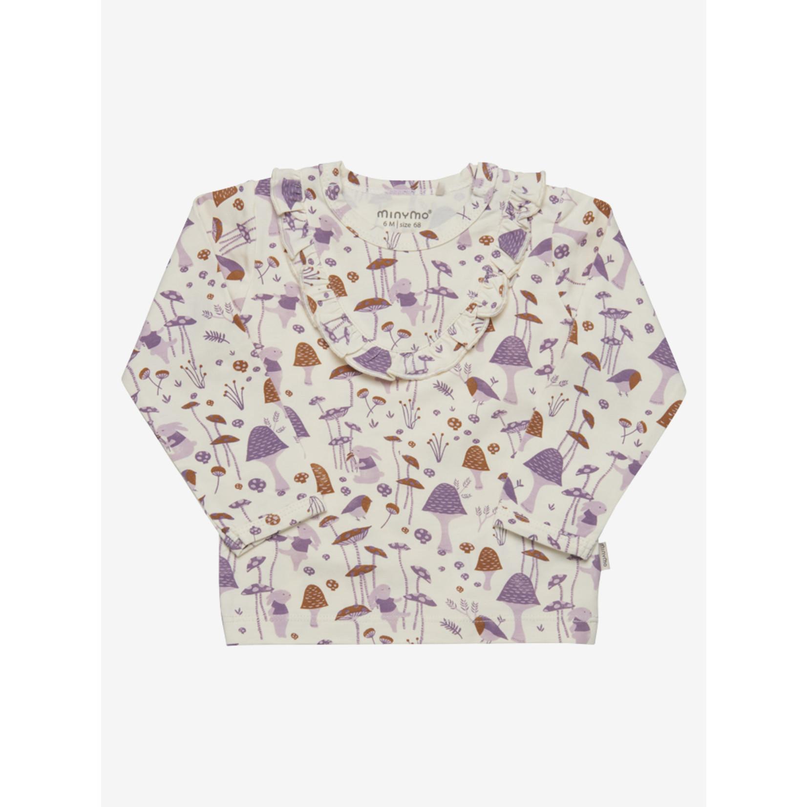 Minymo T-shirt Met Lange Mouwen en Ruffle Bosdiertjes