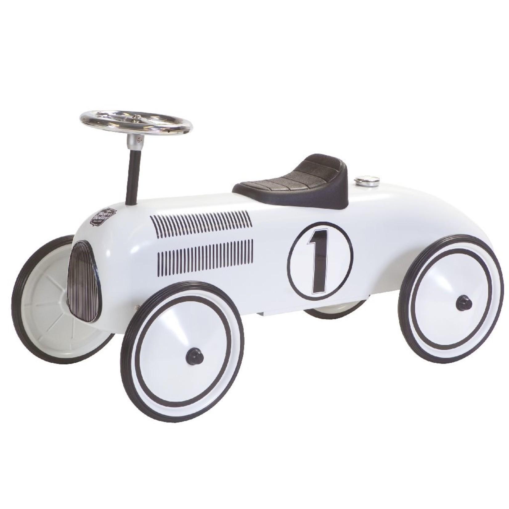 Loopauto Racewagen Retro Lewis Wit