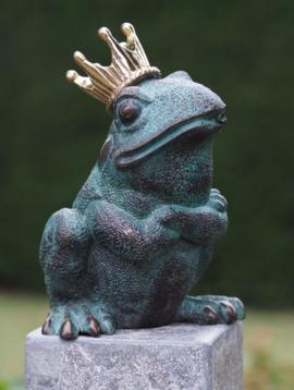 Bronzen kikker met kroon