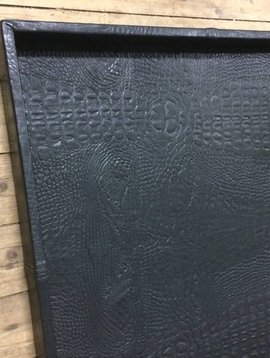 Leren dienblad croco black XL