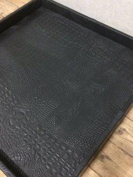 Leren dienblad croco black S