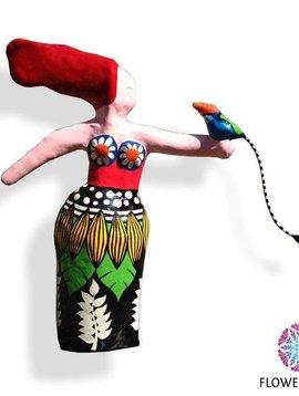Kunstbeeld Exotic woman and bird