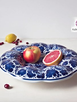 Delfts blauw bord gekarteld