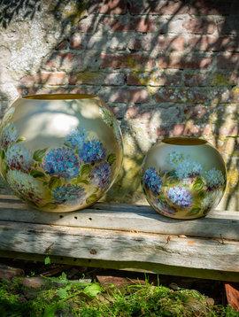 Fidrio Handbeschilderde vazen Hortensia