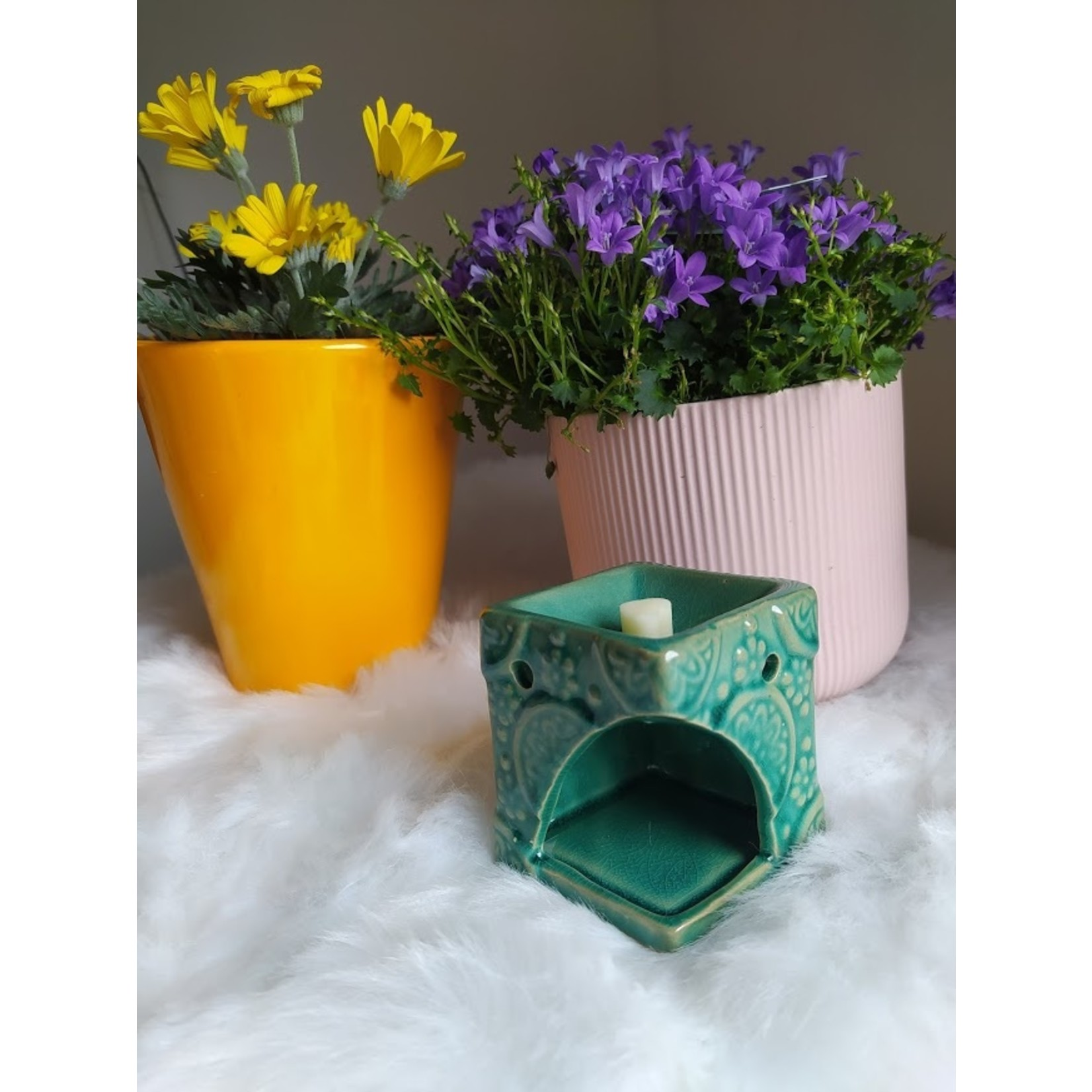 Aromabrander voor wax melts - keramisch met bloemen groen