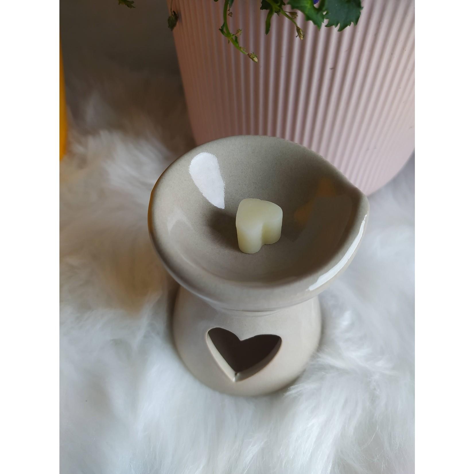 Aromabrander voor wax melts - keramisch met hartje beige
