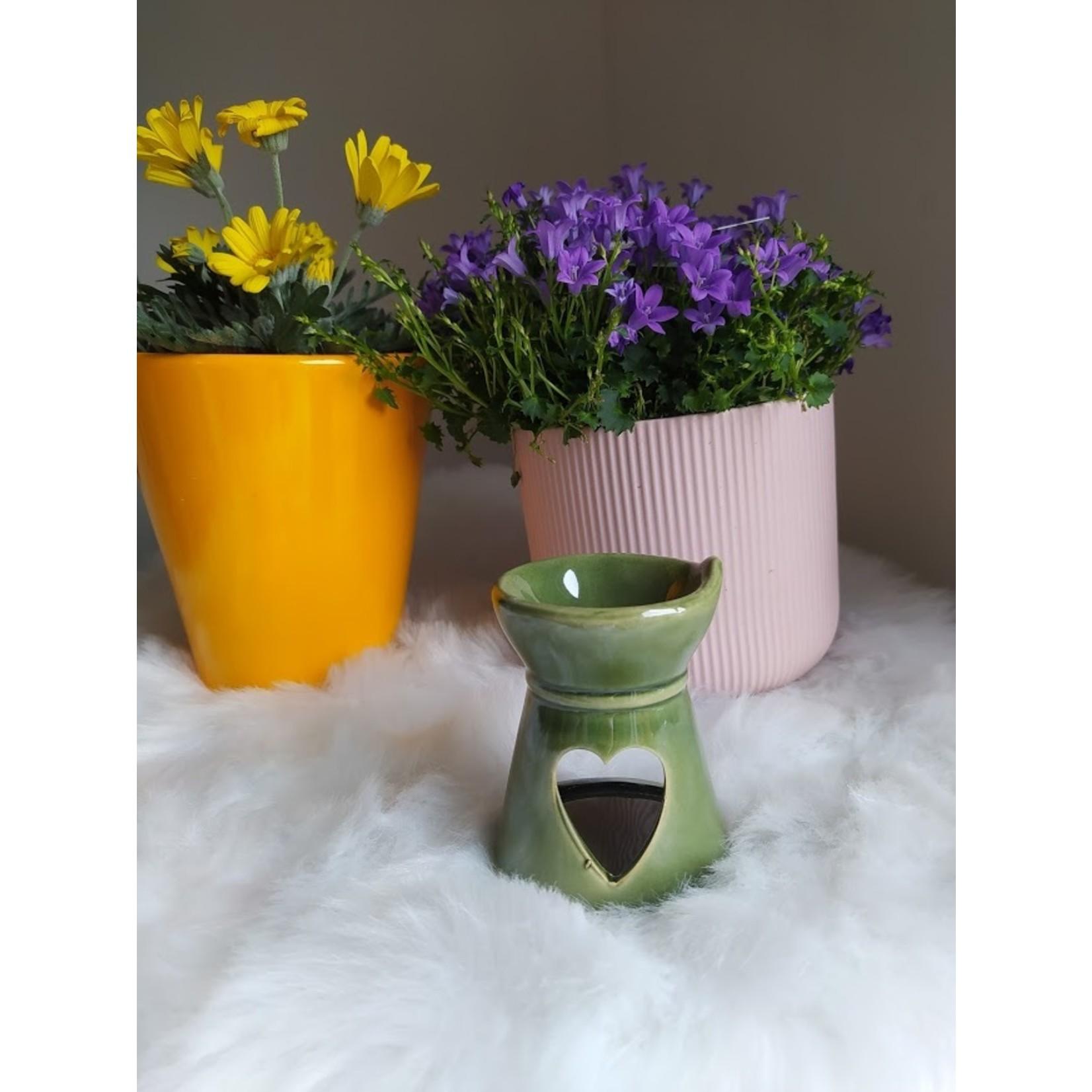 Aromabrander voor wax melts - keramisch met hartje groen