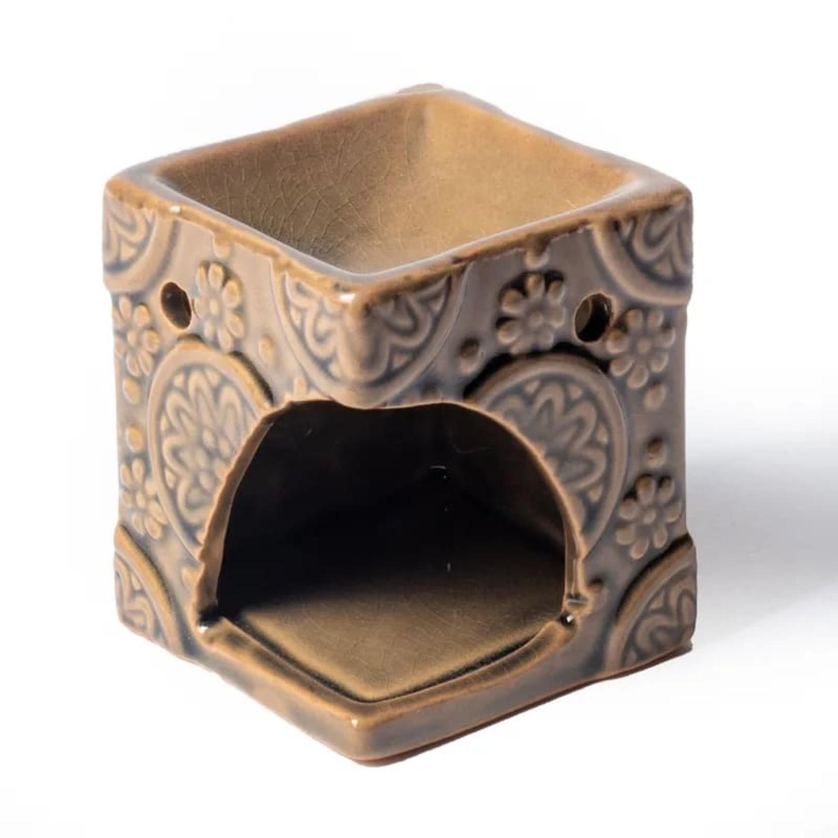 Aromabrander voor wax melts - keramisch met bloemen - beige/bruin