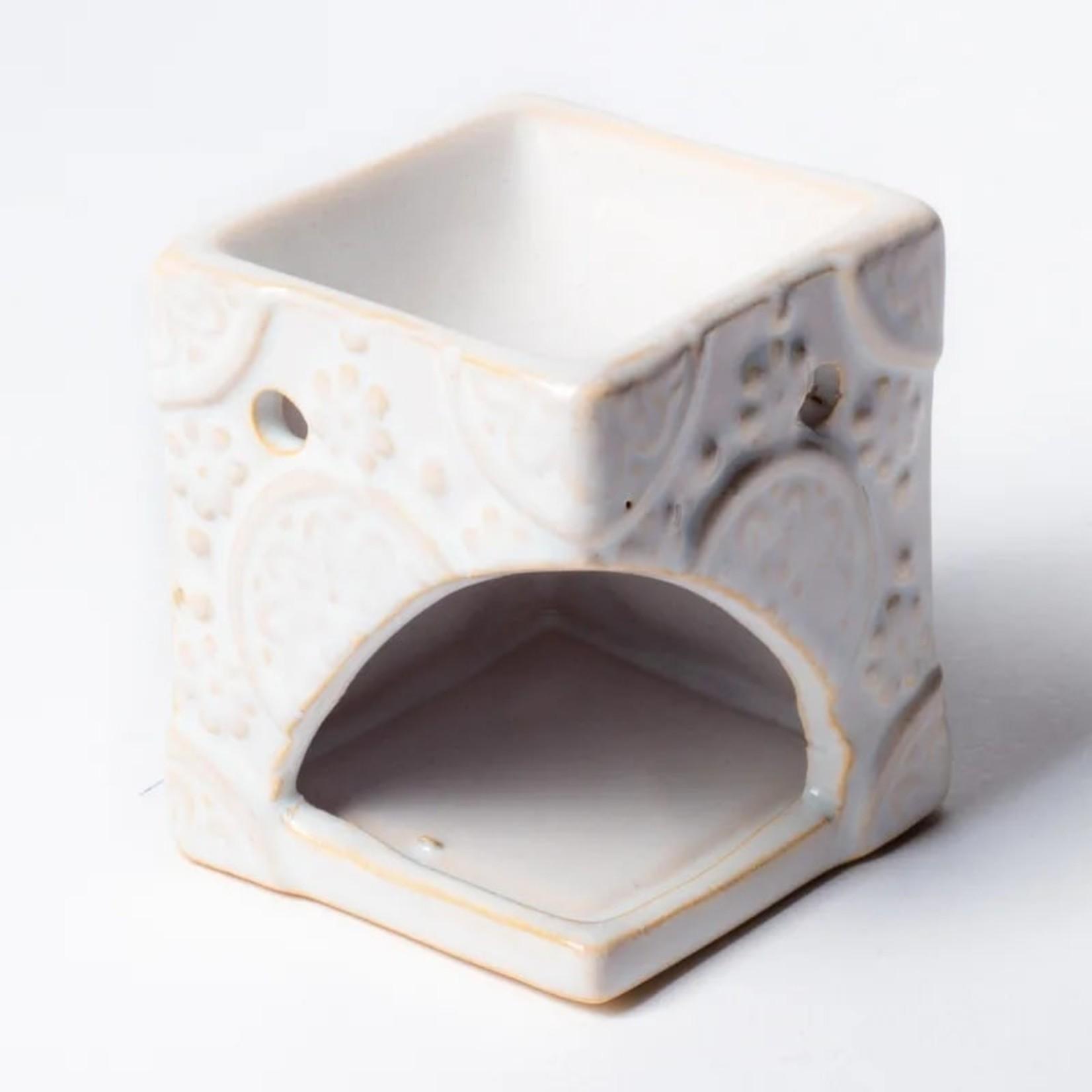 Aromabrander voor wax melts - keramisch met bloemen - wit