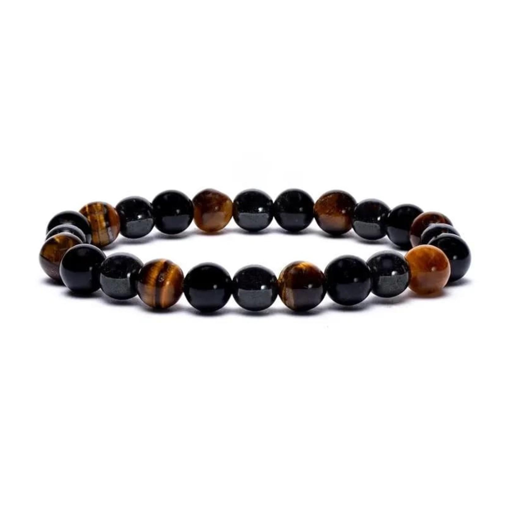 Armband hematiet/obsidiaan/ tijgeroog elastisch -- 0.8cm;9cm