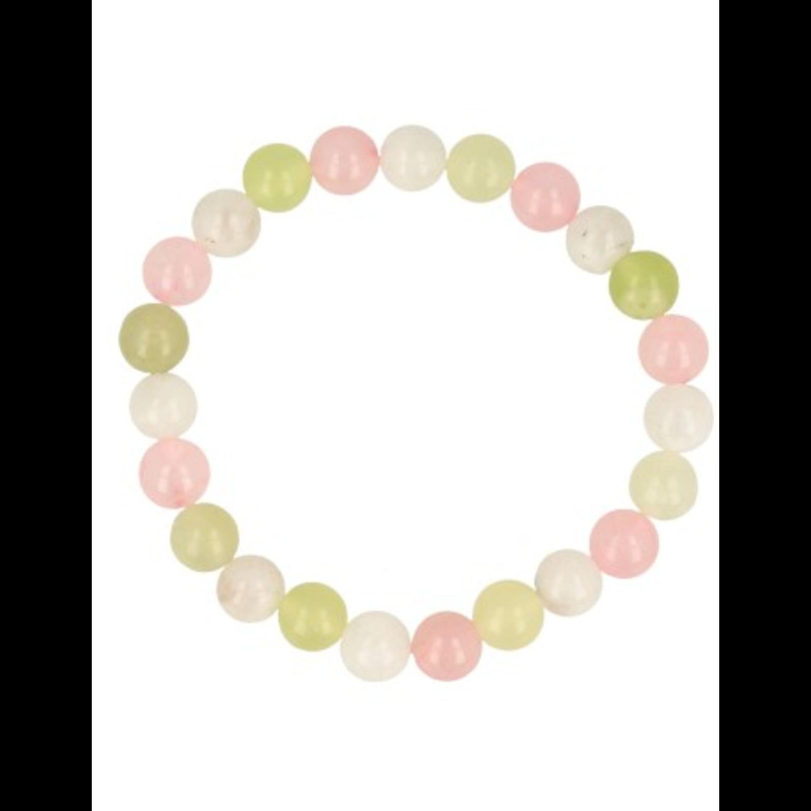 Armband maansteen, rozenkwarts, en jade