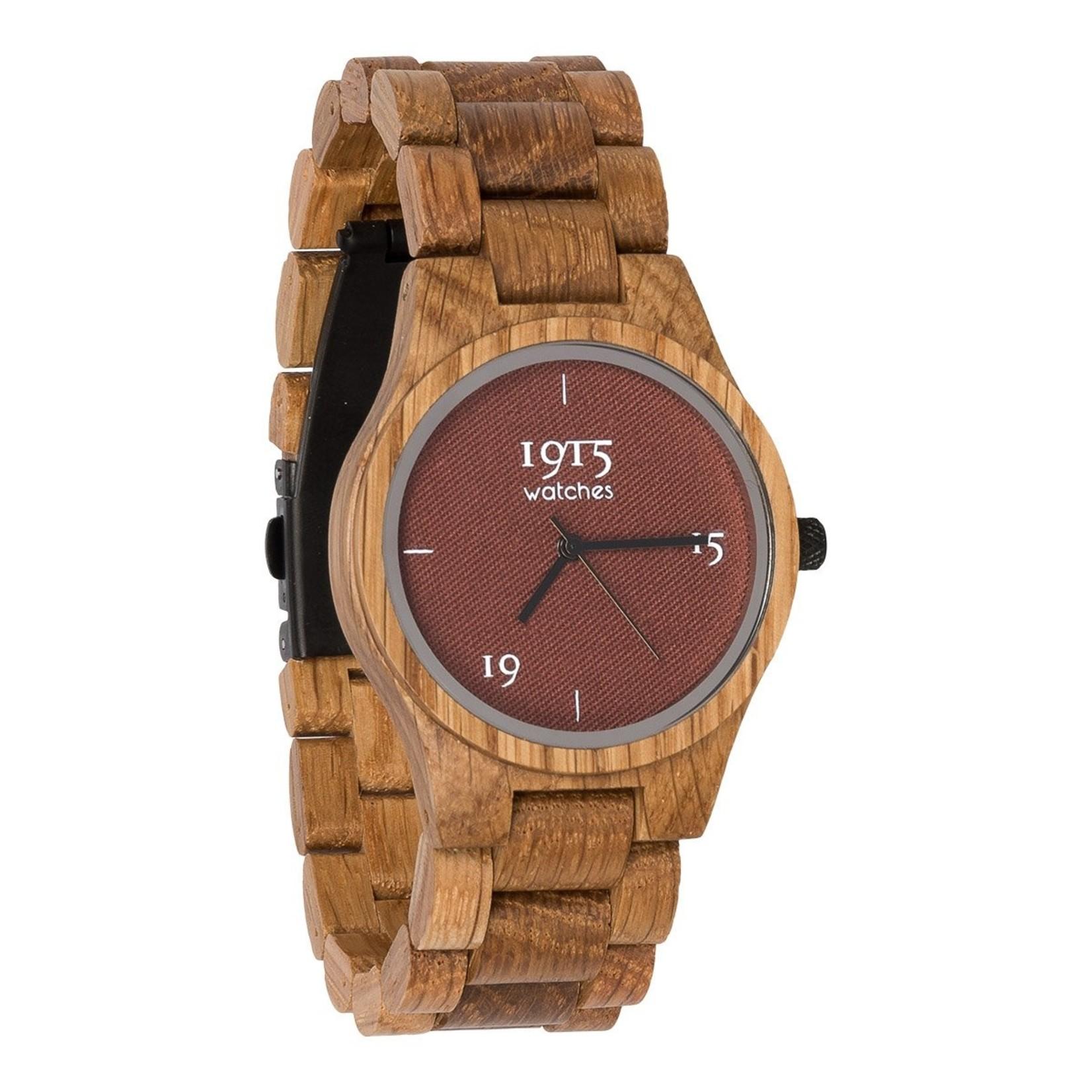 1915 watches 1915 watch lady fine cotton madder   Houten dames horloge