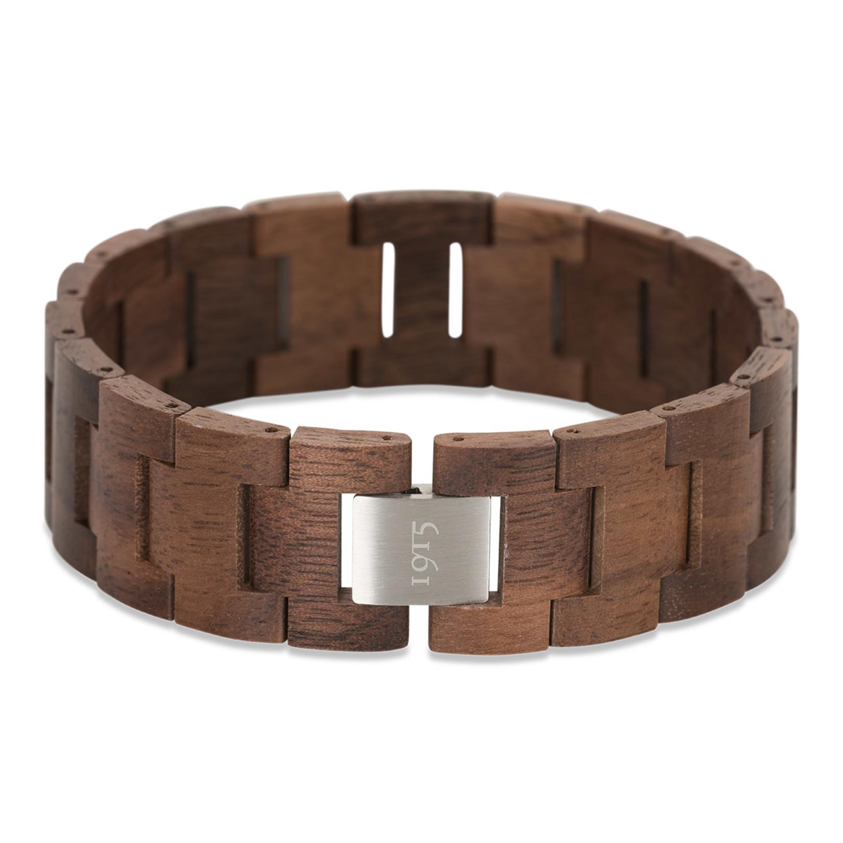 1915 watches 1915 bracelet Walnut | Houten schakel armband van 1915 watches | Walnoothout