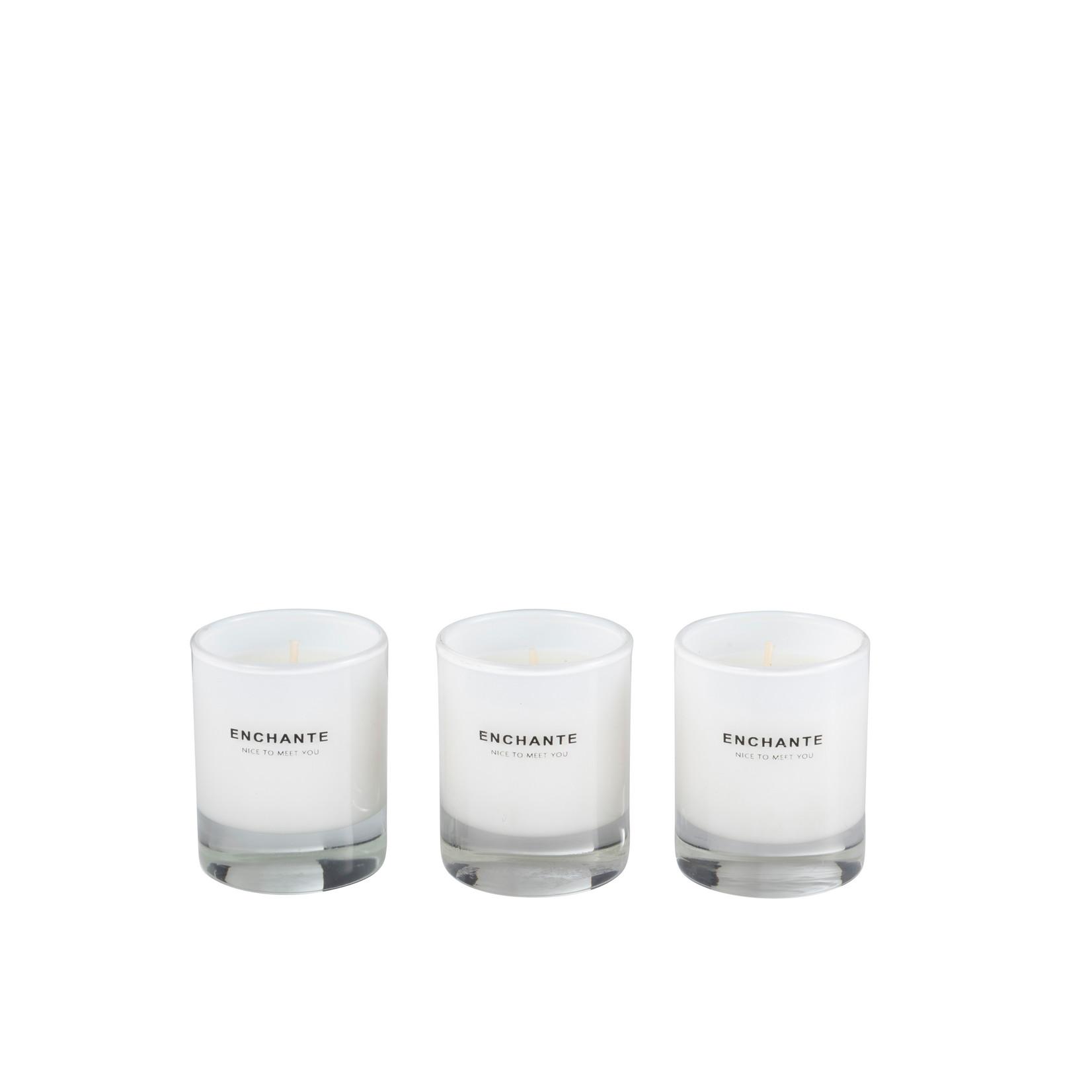 J-Line DOOS VAN 3 GEURKAARS ENCHANTE GLAS WIT-10U