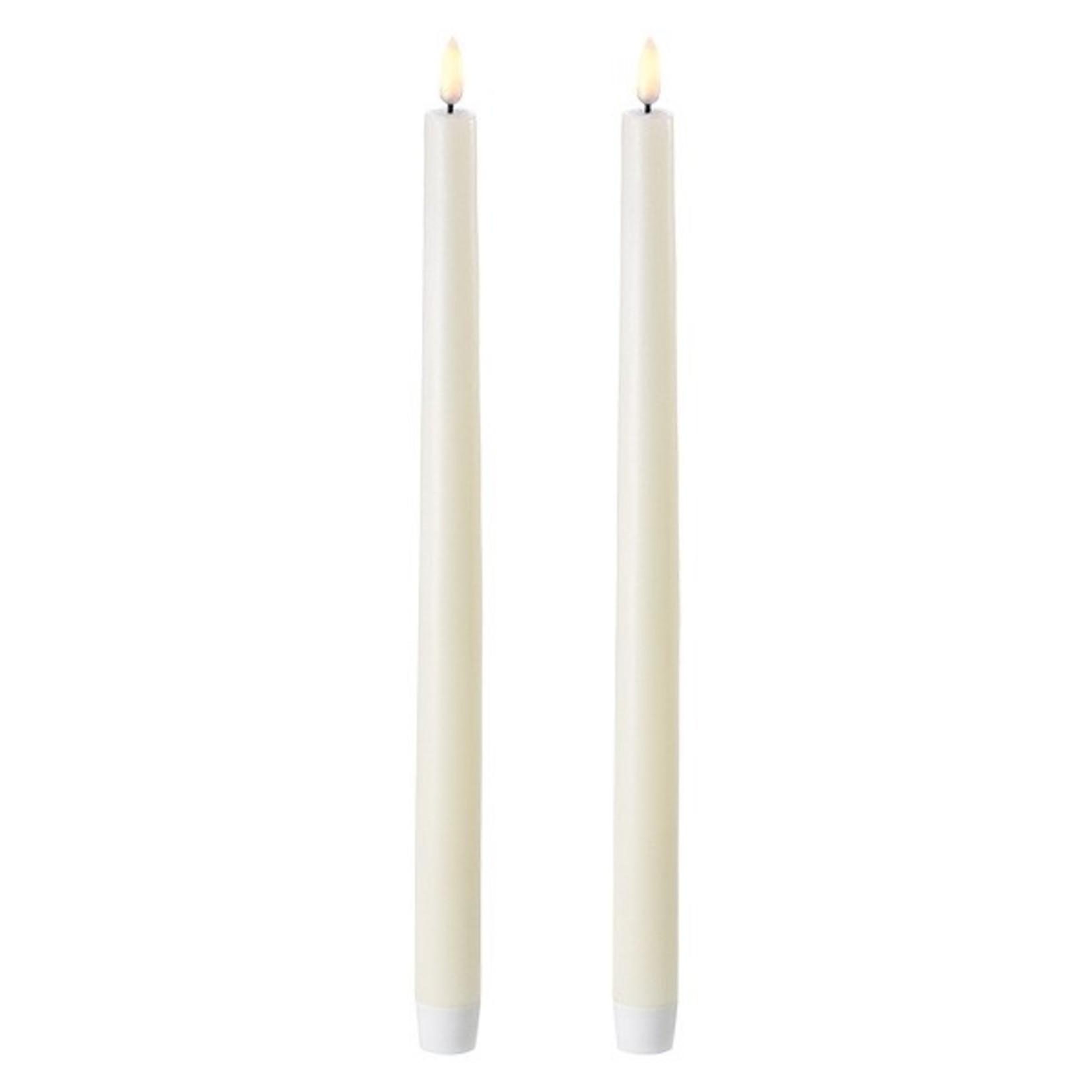 UYUNI LIGHTING LED TAPER CANDLE - 2PACK, w/switch - IVORY - Ø2,3 x 35 CM