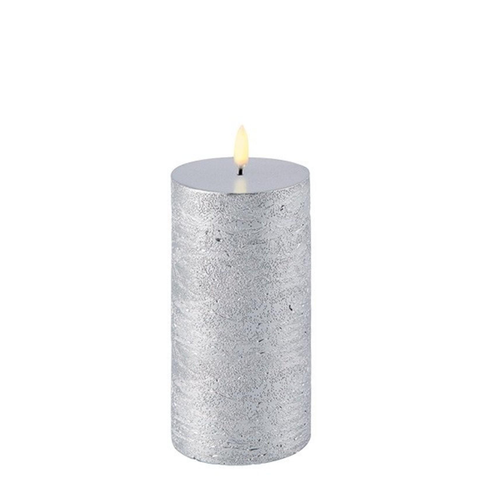 UYUNI LIGHTING LED PILLAR CANDLE - METALLIC SILVER - Ø7,8 x 15 CM