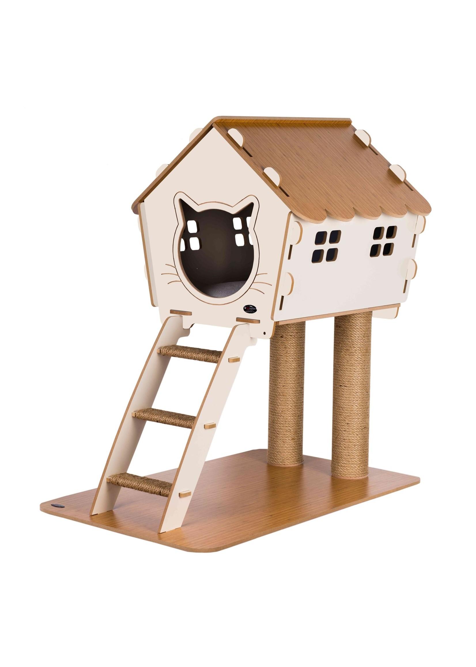 Pati Homes Kattenhuis XL met trap en ramen Beige