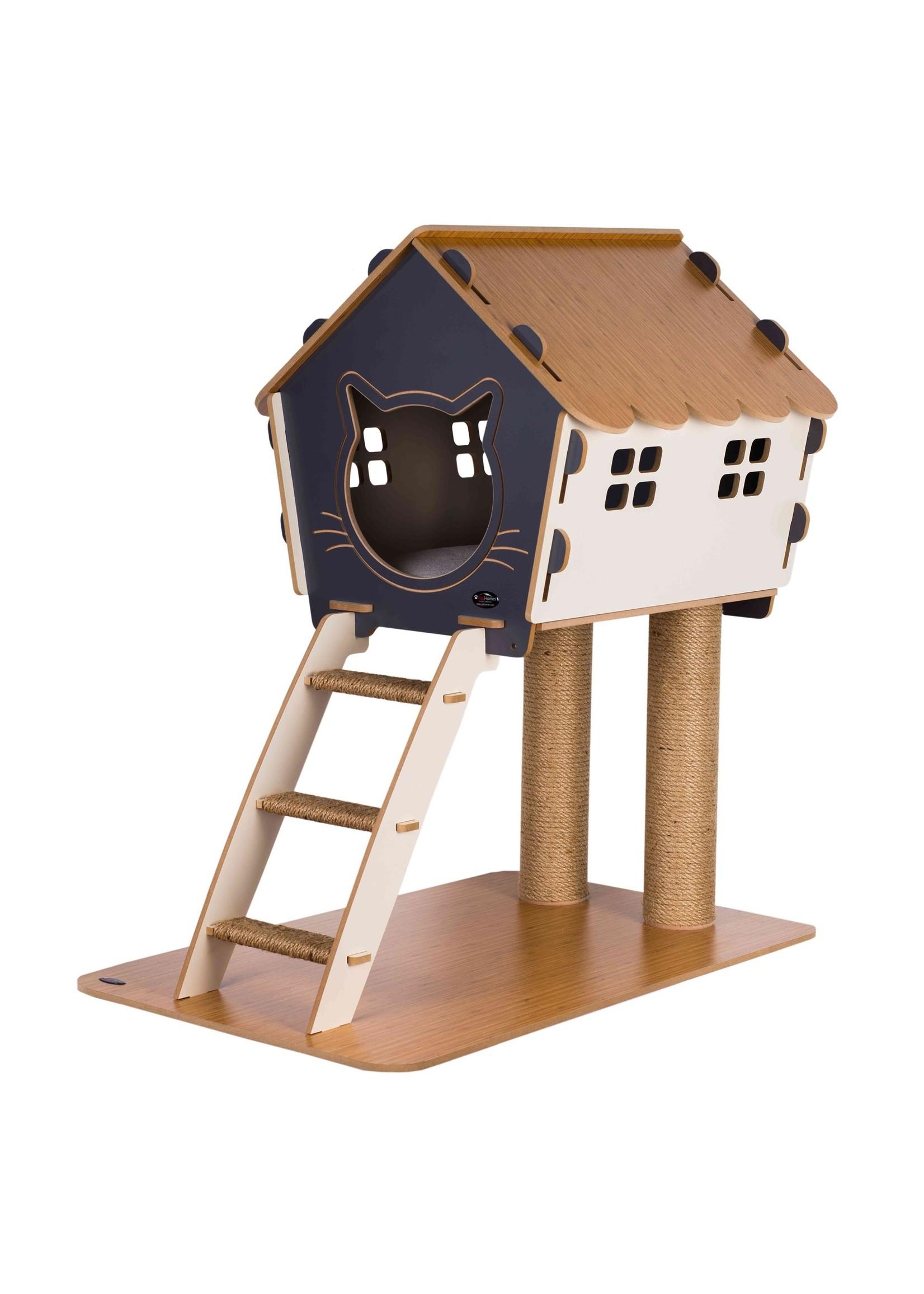 Pati Homes Kattenhuis XL met trap en ramen Grijs