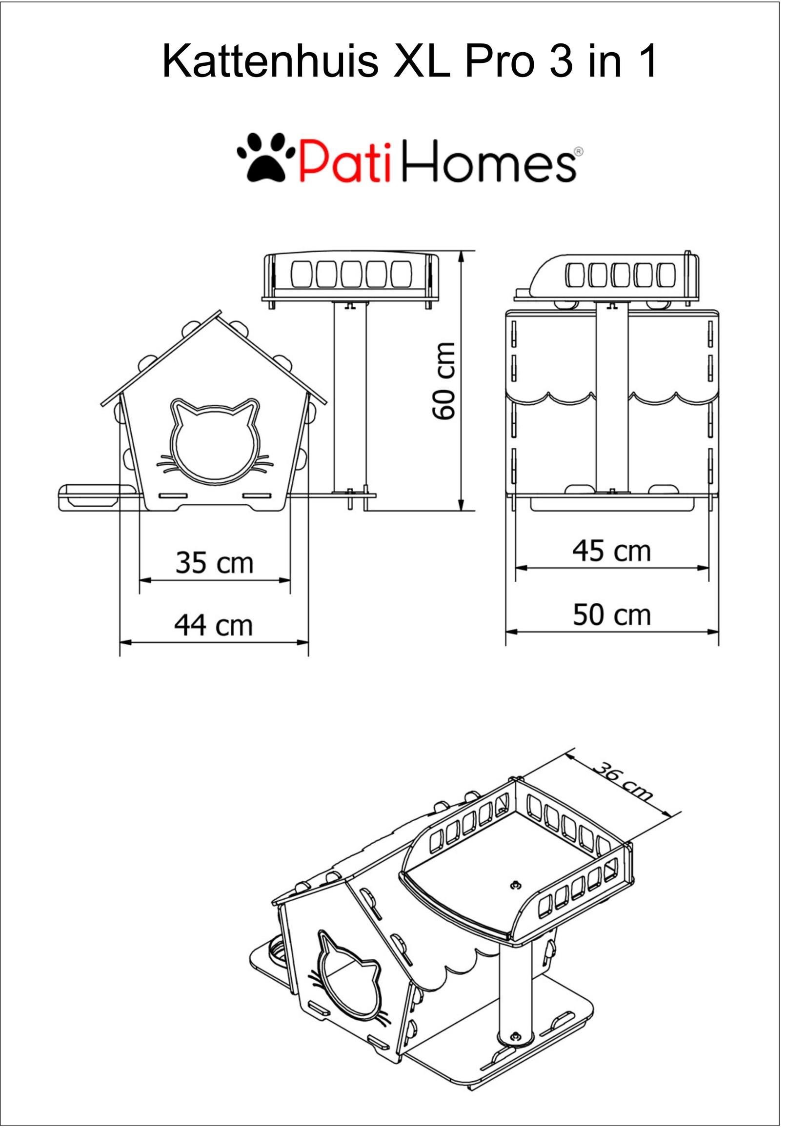 Pati Homes Kattenhuis XL Pro 3 in 1 Beige
