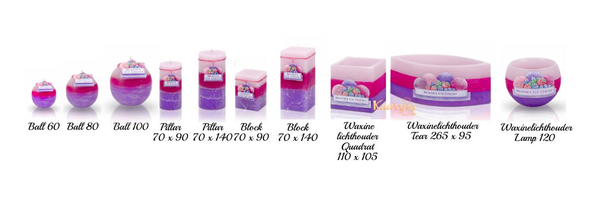 sierkaars en geurkaars bosvruchten paars en roze kaarsen