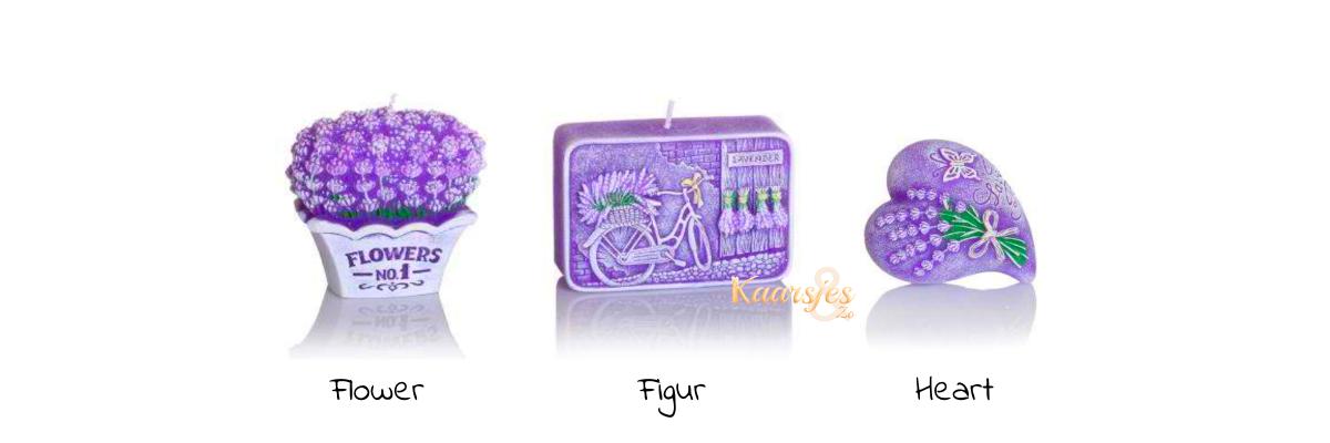 sierkaars en geurkaars lavendel paars bloemen figuurtje en hart