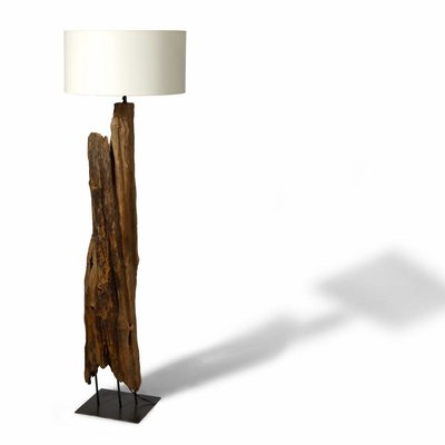 Teak Lampe Fikiri auf Metallfuß