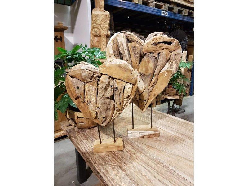 Teak Skulptur Herz (3-teiliger Set)