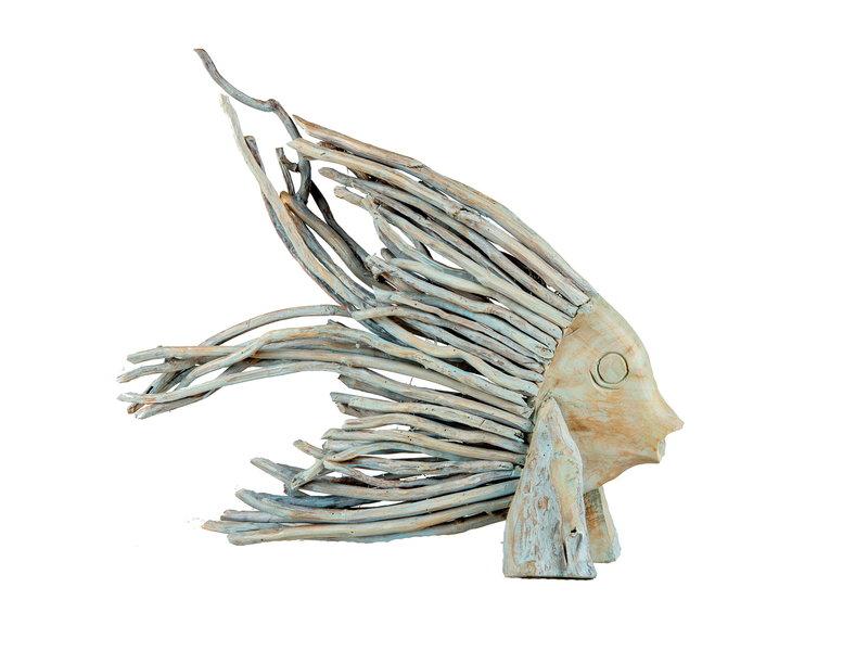 Fisch Yon Teakholz Blau