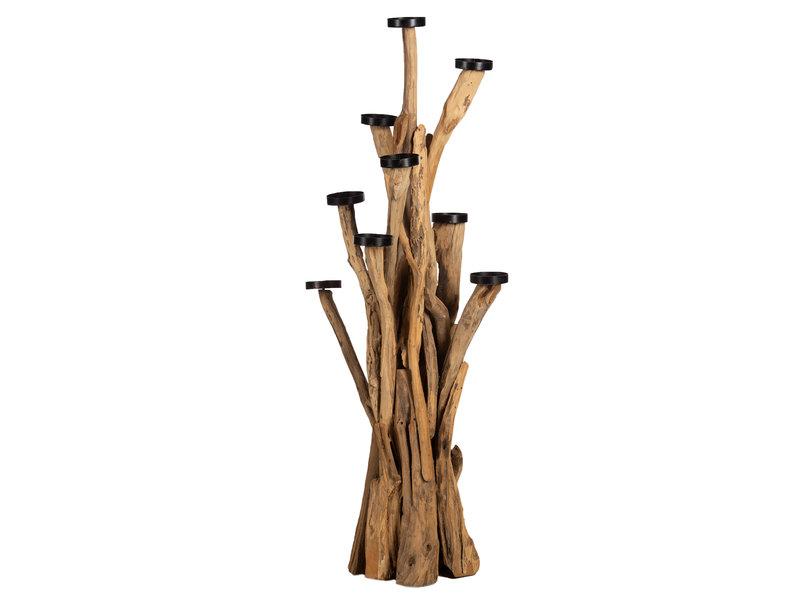 Teakholz Kerzenhalter Baum