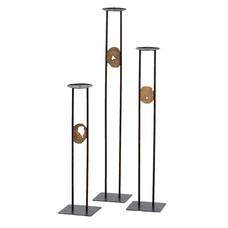 Industrial Kerzenhalter Runde Mit Holz  (3-teiliger Satz)