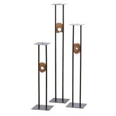 Industrial Kerzenhalter Quadrat Mit Holz  (3-teiliger Satz) - Copy
