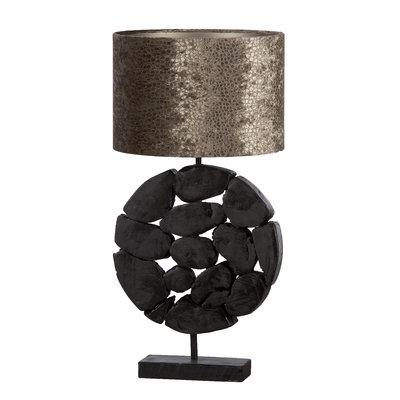 Teakholz Lampe Bulat (Schwarz)