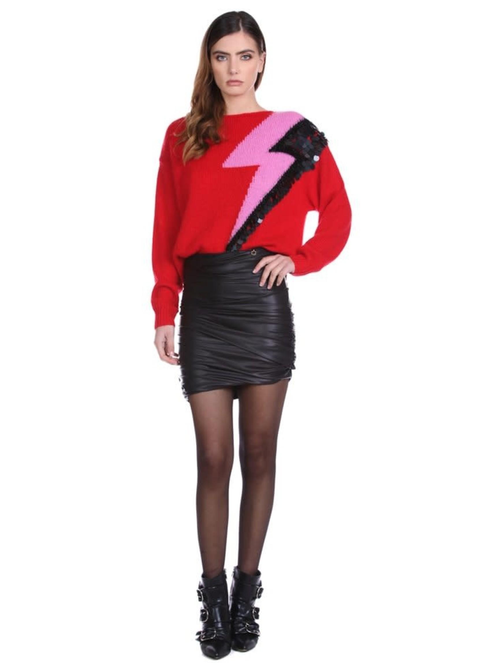 Relish XERFON-trui met lange mouwen met lurex-jacquard en bliksempailletten
