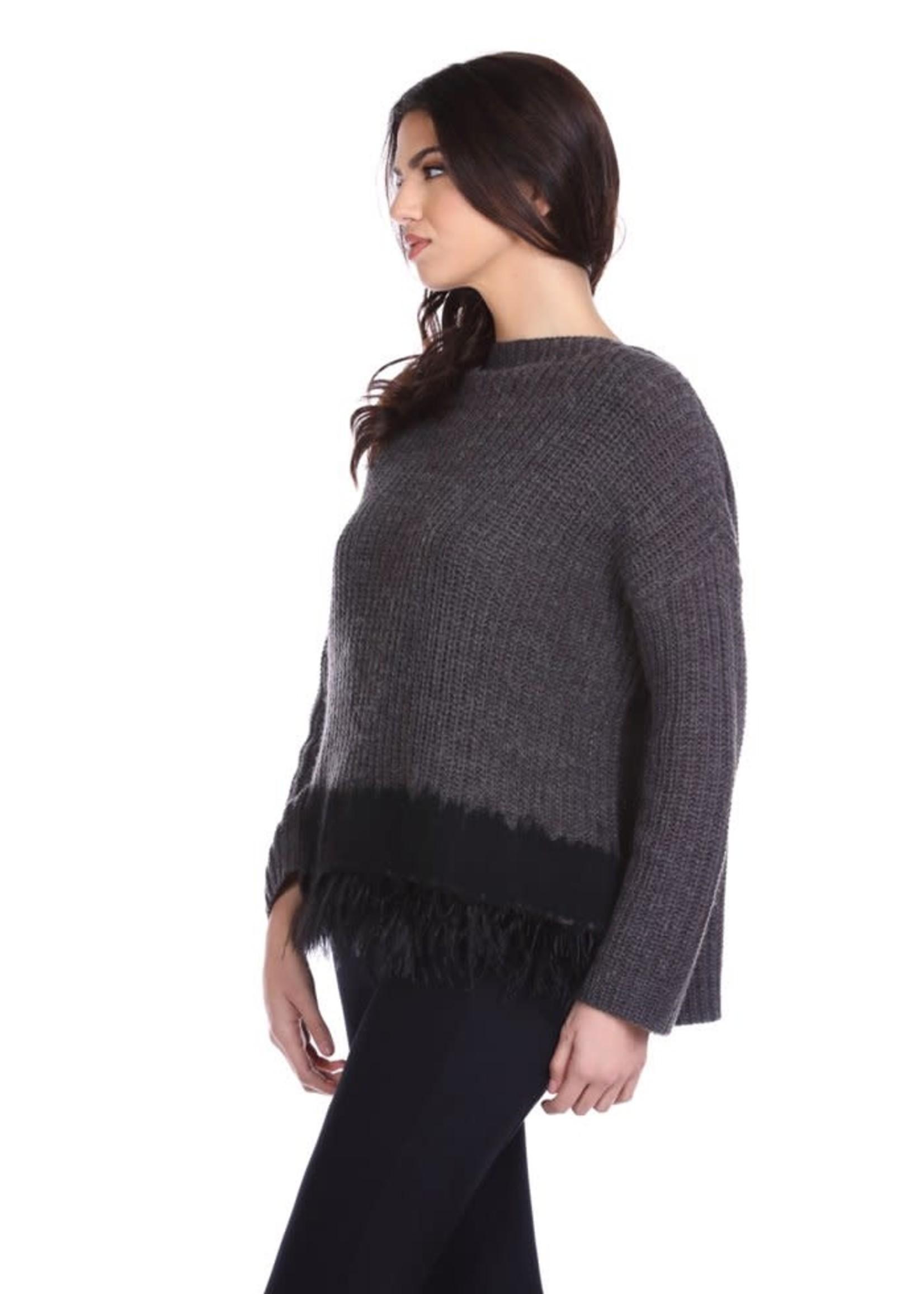 Relish STISHAR shirt met lange mouwen en vulkaankraag met inzetstukken van stof en veren