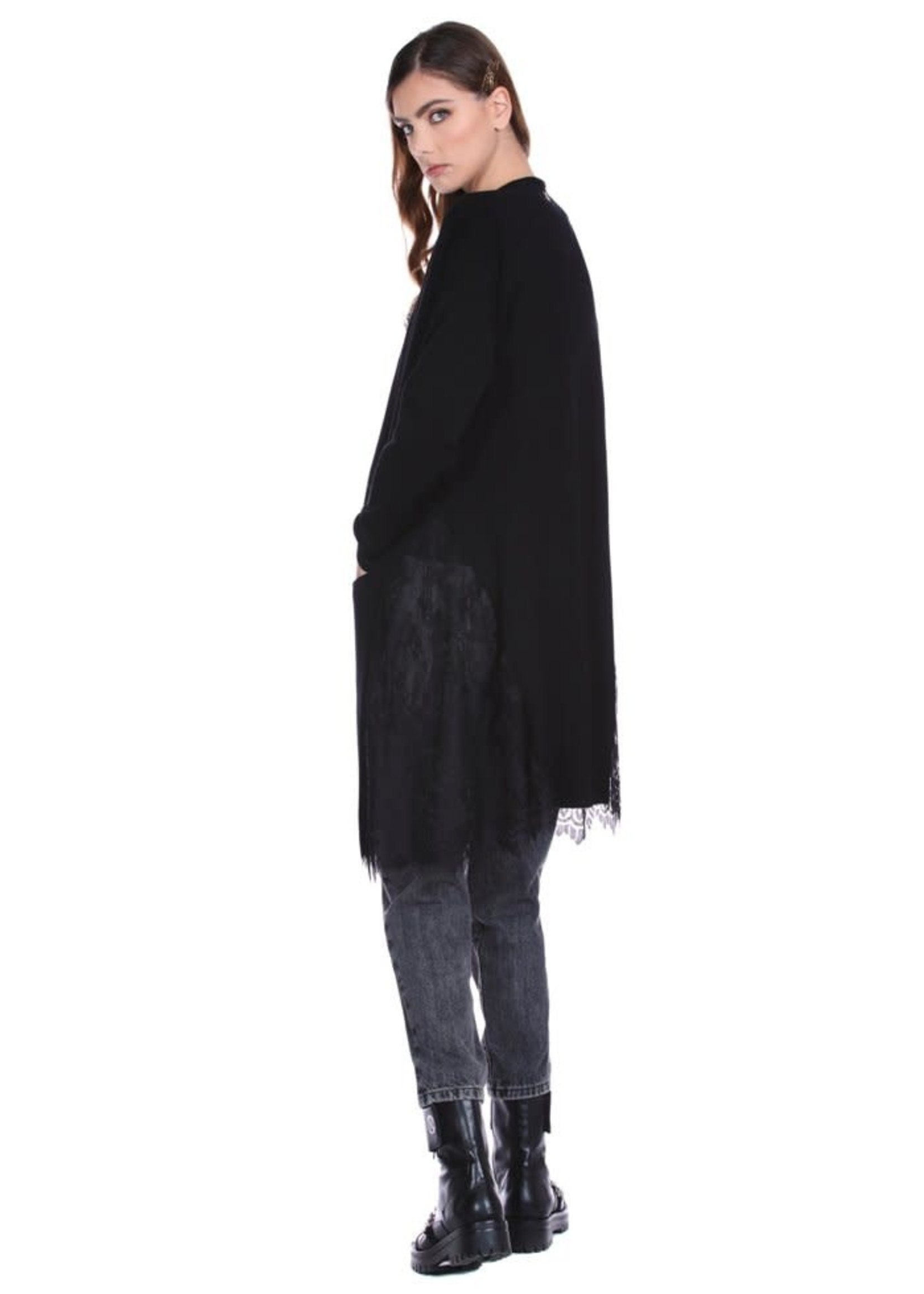 Relish JORDYS vest met lange mouwen en zakken plus kanten details