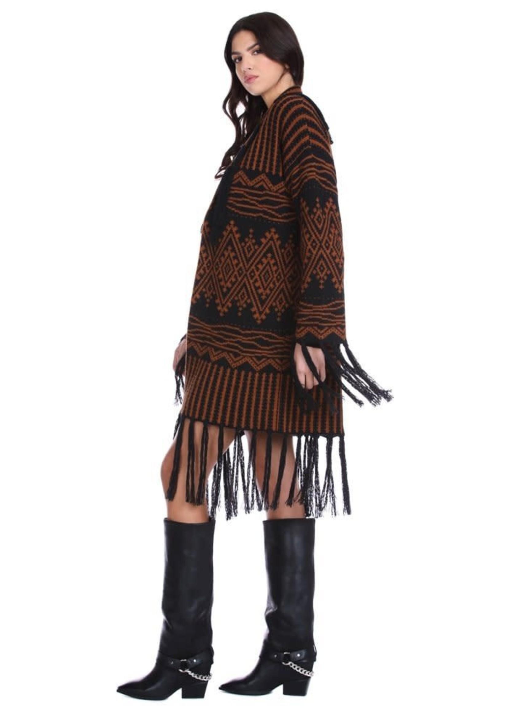 Relish VANJEDRIN vest met lange mouwen en multi-design jacquard franjes