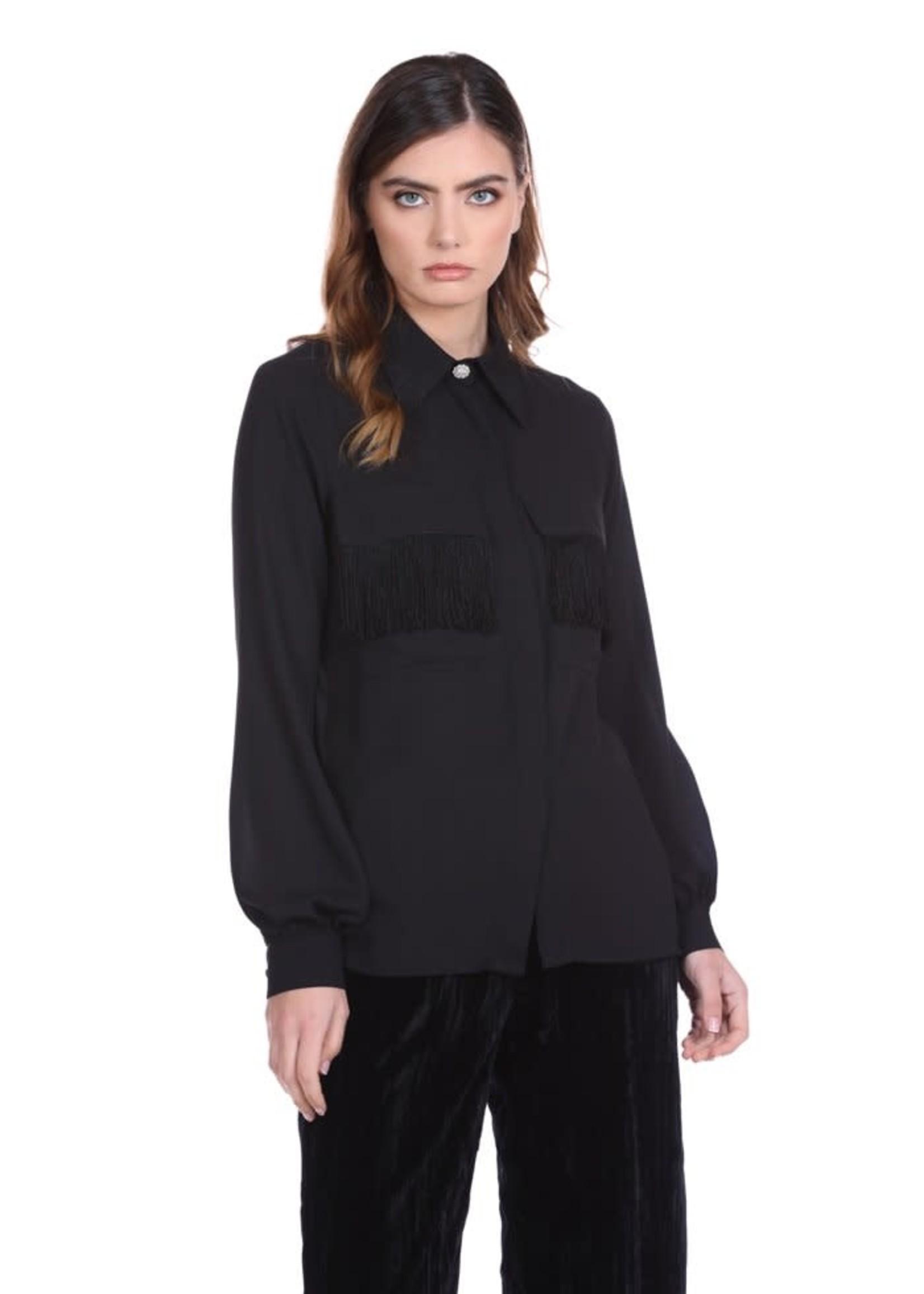 Relish DENCROS overhemd met lange mouwen en juweelknoop plus zakken met klep plus franjes