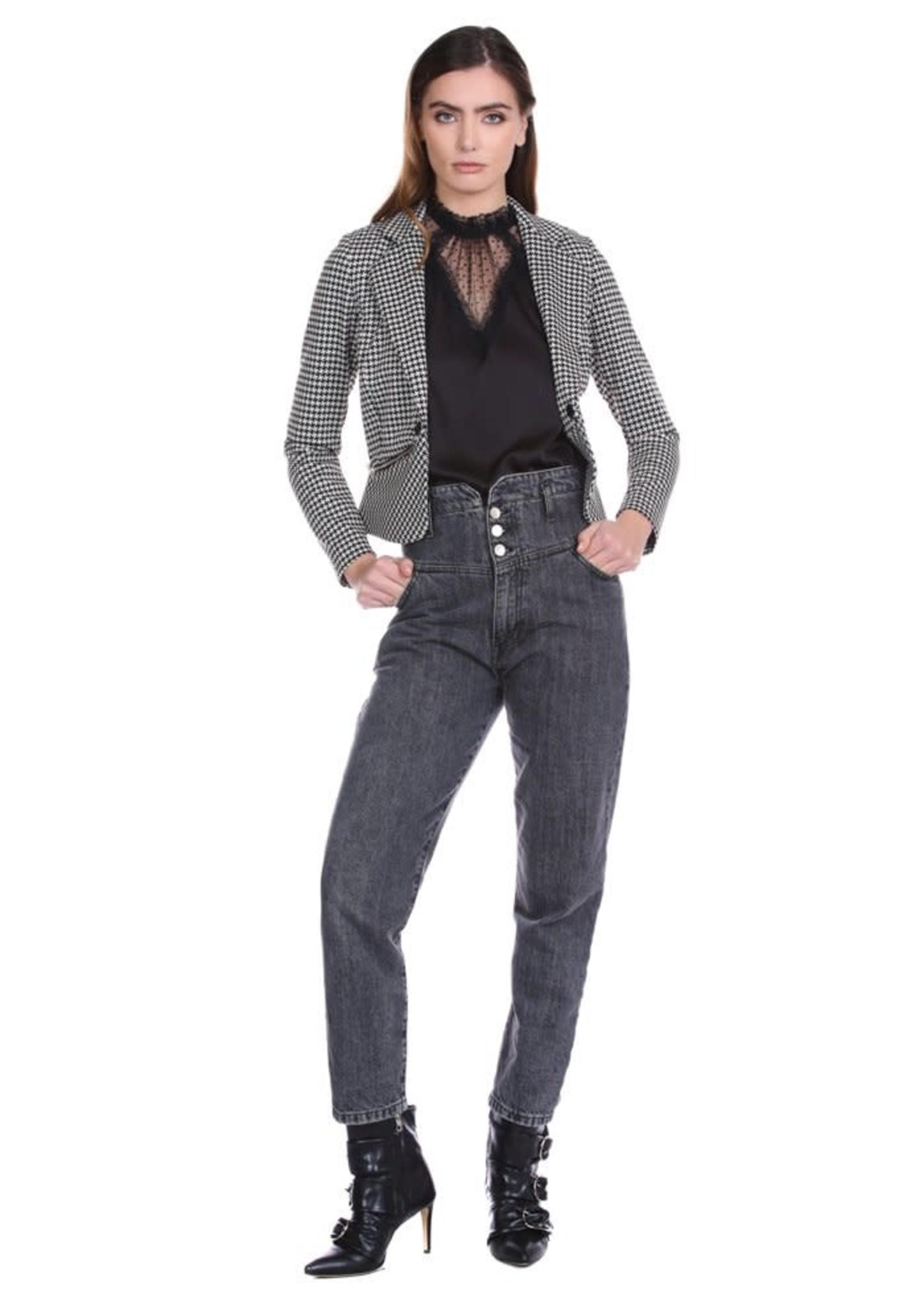 Relish MAKAREN blouse met halve mouwen met rouches en kanten inzetstukken
