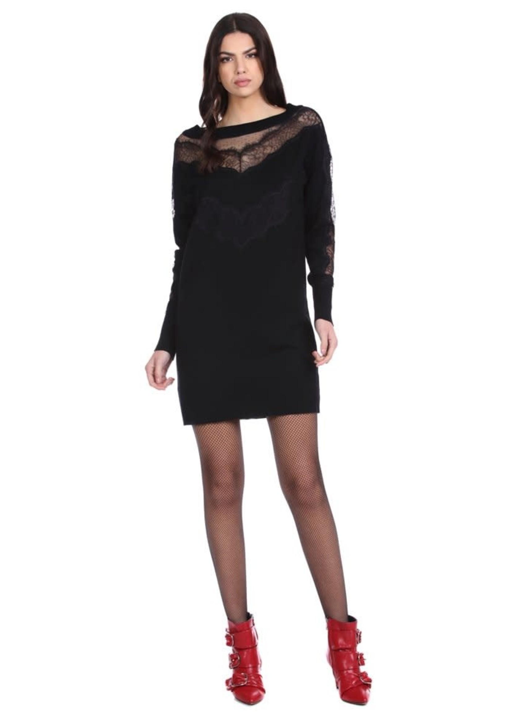 Relish NILUFAR korte jurk met lange mouwen en kanten details plus plumetis tule