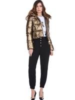 Relish CATTLES broek met hoge taille en gouden knopen met juweel, elastiek aan de onderkant