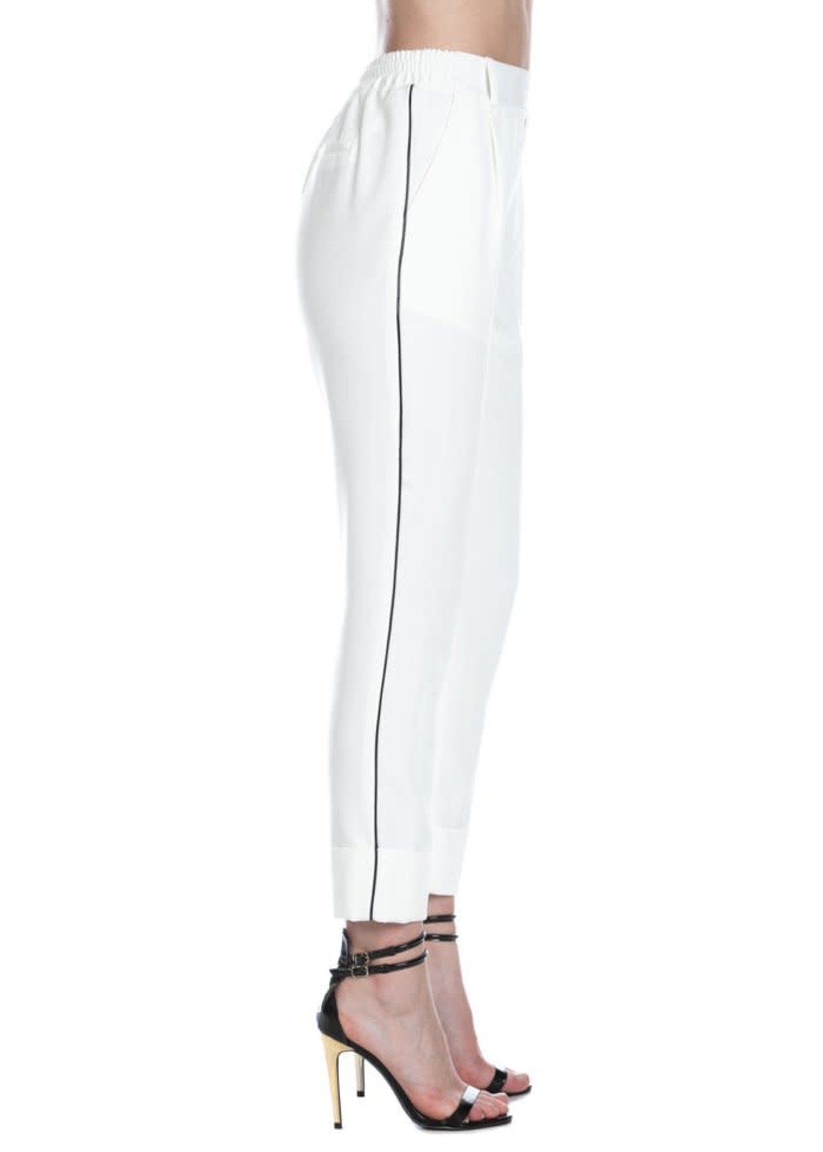 Relish LORDS broek met hoge taille plus eco-lederen profielen en omslag