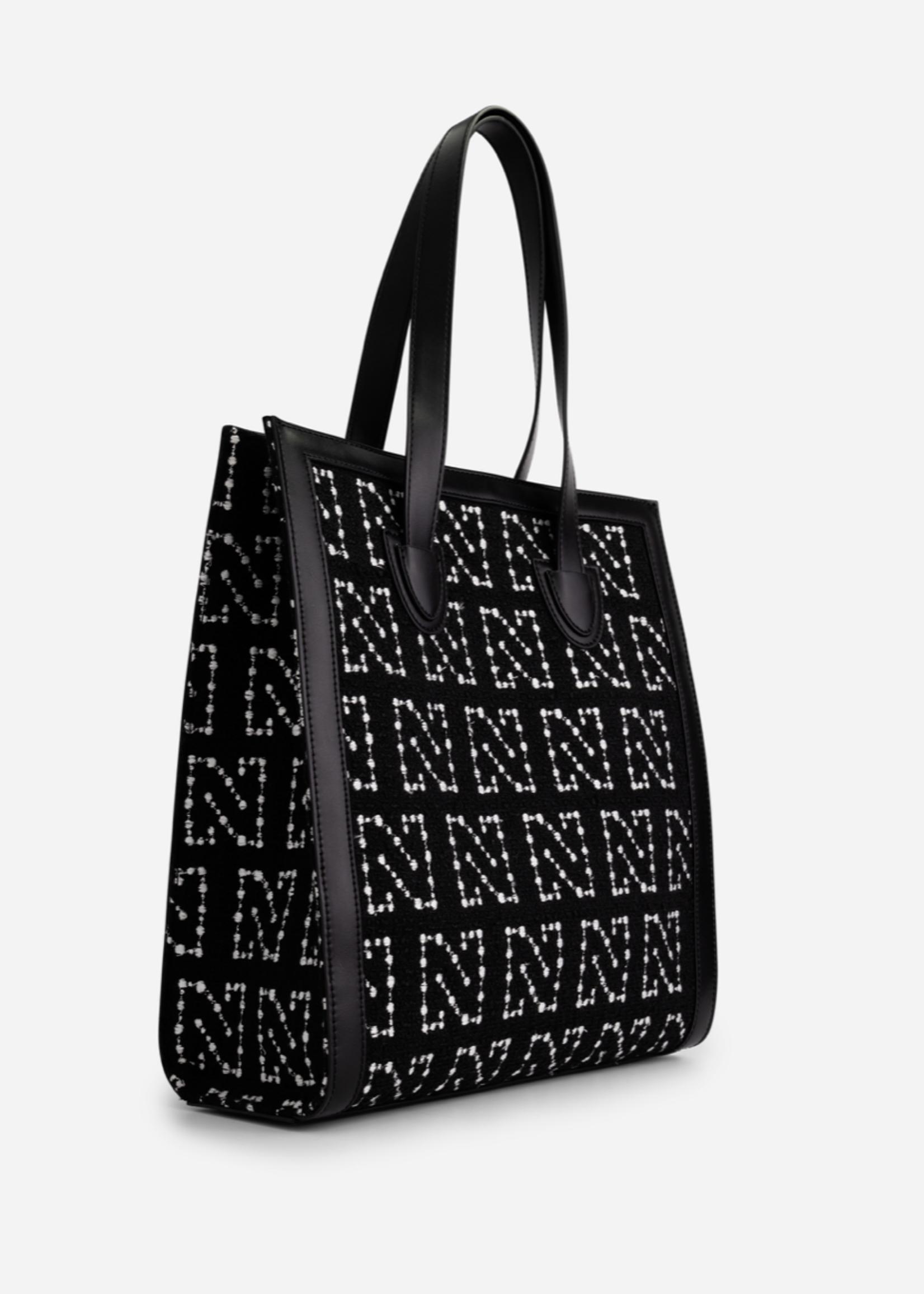 NIKKIE TWEED HANDBAG WITH N PRINT Phoebe bag NIKKIE