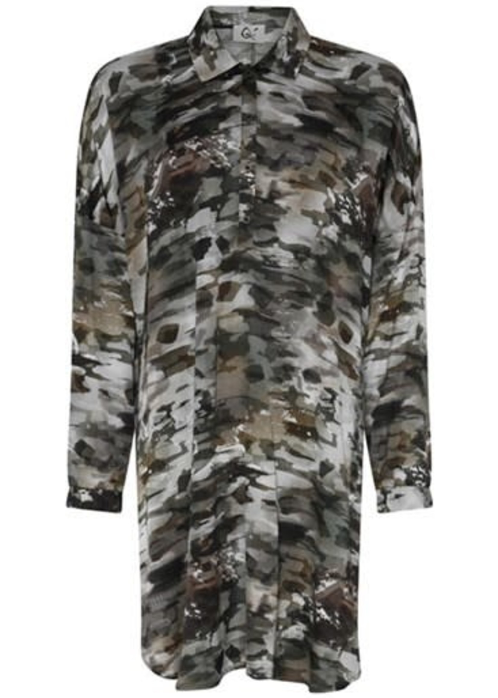 QUE QUE Tuniek lang met camouflageprint