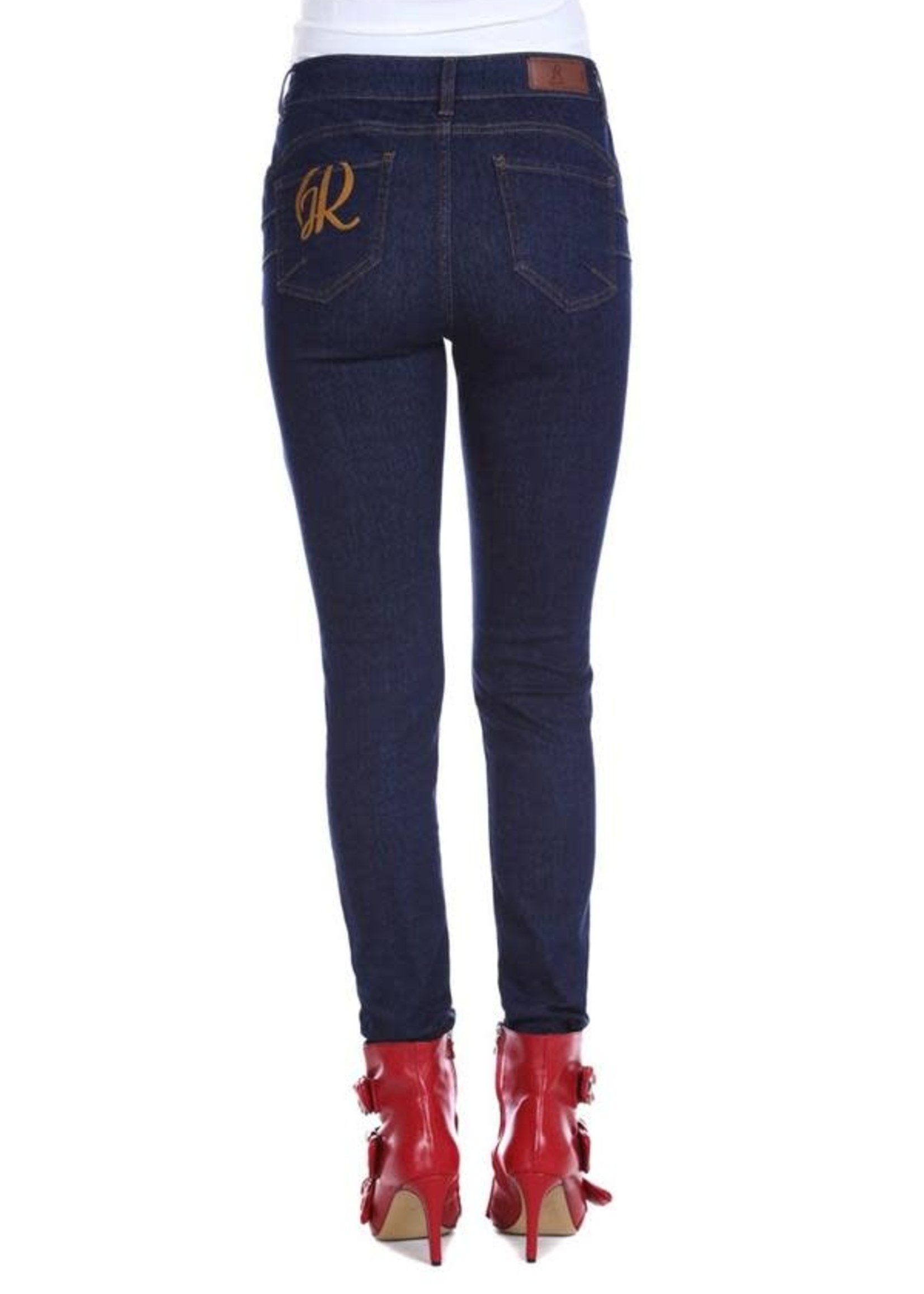 Relish FLOORA push-up jeans 5 zakken plus donker denim logo borduursel