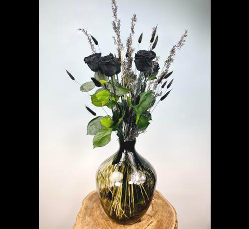 Exclusief   Zwarte rozen incl. Cheetah Vaas