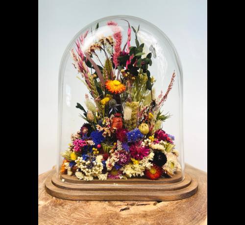 Droogbloemen in glazen stolp (ovaal) - ⌀28x16x32 CM