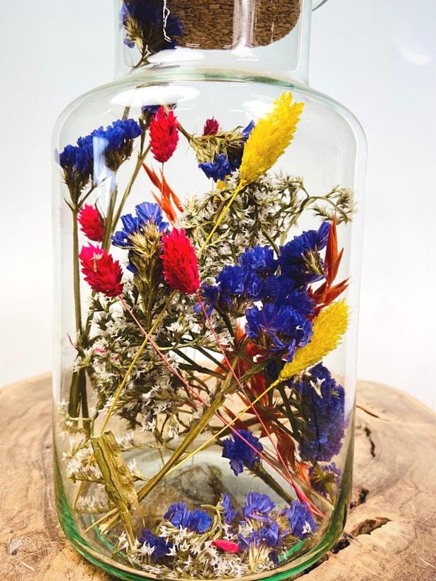 Droogbloemen in glazen pot paarse tinten' - ⌀15xH26cm